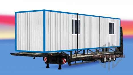 Низкорамный трал со строительным вагончиком для American Truck Simulator