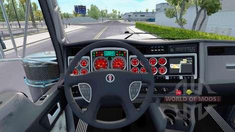 Красный окрас приборов у Kenworth W900 для American Truck Simulator