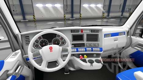 Интерьер White and Blue для Kenworth T680 для American Truck Simulator