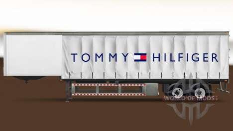Скин Tommy Hilfiger на шторный полуприцеп для American Truck Simulator