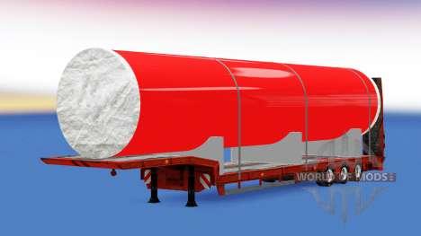 Низкорамный трал с большой металлической трубой для American Truck Simulator