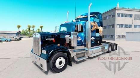 Скин Jurassic World на тягач Kenworth W900 для American Truck Simulator