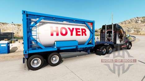 Полуприцеп-контейнеровоз с танк-контейнером для American Truck Simulator