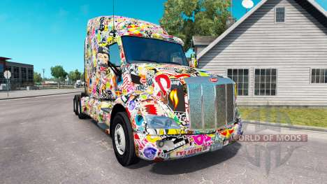 Скин Sticker Bomb на тягач Peterbilt для American Truck Simulator