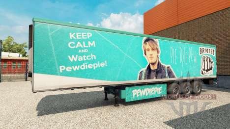 Скин PewDiePie на полуприцеп для Euro Truck Simulator 2