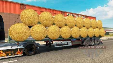 Полуприцеп-площадка с грузом круглых тюков для Euro Truck Simulator 2
