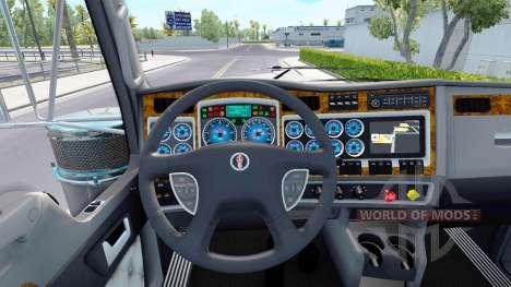 Синий окрас приборов у Kenworth W900 для American Truck Simulator