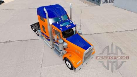 Скин Blue Stripes on Orange на Kenworth W900 для American Truck Simulator