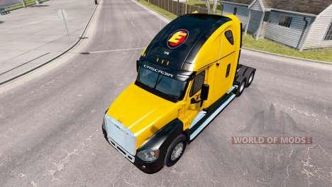 Скин Estes Express на Freightliner Cascadia для American Truck Simulator
