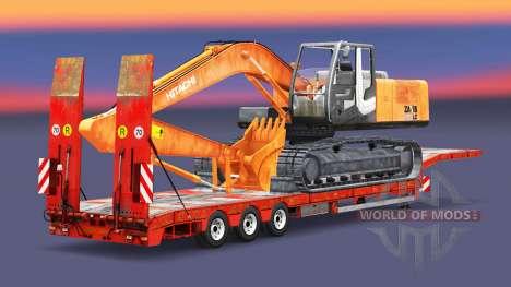 Низкорамный трал с грузом экскаватора для Euro Truck Simulator 2