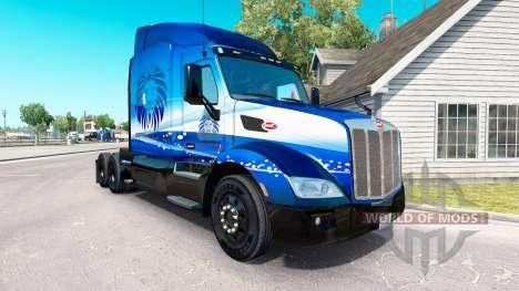 Скин Blue Lion Transport на тягач Peterbilt для American Truck Simulator