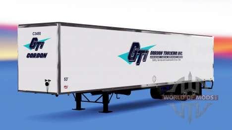 Цельнометаллический полуприцеп Gordon для American Truck Simulator