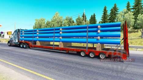 Низкорамный трал с грузом труб для American Truck Simulator