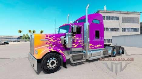 Скин California Flames на тягач Kenworth W900 для American Truck Simulator