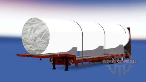 Низкорамный трал с большой белой трубой для American Truck Simulator