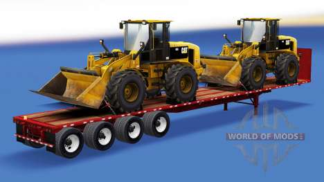 Полуприцеп-площадка со строительной техникой для American Truck Simulator