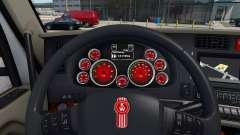 Красный окрас приборов у Kenworth T680