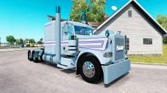 Скин Blue-white stripes на тягач Peterbilt 389