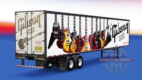 Скин Gibson Guitars на полуприцеп для American Truck Simulator