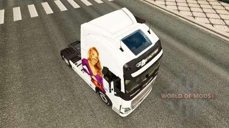 Скин Jennifer Lawrence на тягач Volvo для Euro Truck Simulator 2