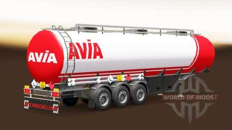 Скин Avia на топливный полуприцеп для Euro Truck Simulator 2