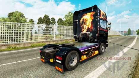 Скин Ghost Rider на тягач Scania для Euro Truck Simulator 2