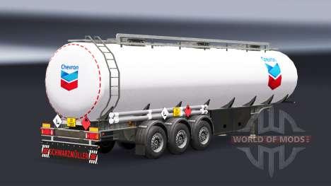 Скин Chevron на топливный полуприцеп для Euro Truck Simulator 2