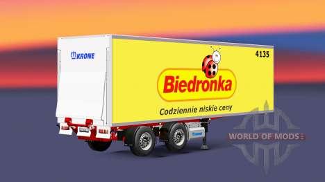Полуприцеп-рефрижератор Krone Biedronka для Euro Truck Simulator 2
