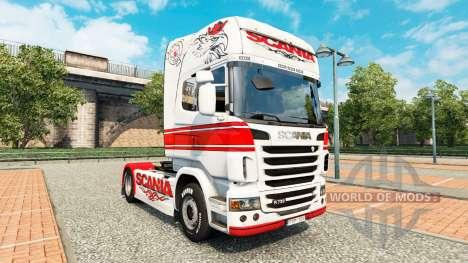Скин White-red на тягач Scania для Euro Truck Simulator 2