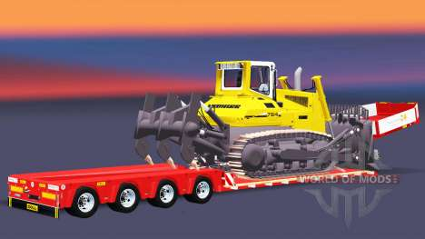 Низкорамный трал Doll с грузом бульдозера v2.0 для Euro Truck Simulator 2