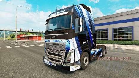 Скин Blue Stripes на тягач Volvo для Euro Truck Simulator 2
