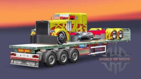 Полуприцеп-платформа с грузом тягача Peterbilt для Euro Truck Simulator 2