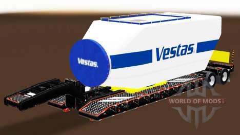 Низкорамный трал с различными грузами v2.0 для American Truck Simulator