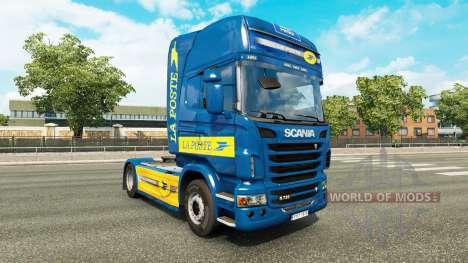 Скин La Poste на тягач Scania для Euro Truck Simulator 2