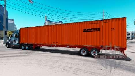 Полуприцеп контейнеровоз Schneider для American Truck Simulator