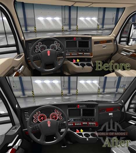 Интерьер Red Dial для Kenworth T680 для American Truck Simulator