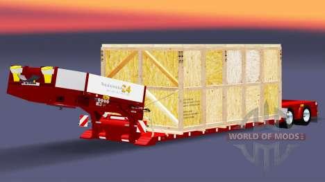 Низкорамный трал с грузом в деревянной обрешётке для Euro Truck Simulator 2