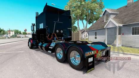 Скин Black Metallic Stripes на Peterbilt 389 для American Truck Simulator