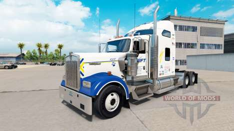 Скин Swift Transportation v1.1 на Kenworth W900 для American Truck Simulator