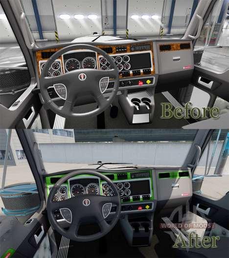 Интерьер Green-gray для Kenworth W900 для American Truck Simulator