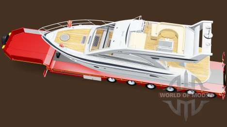 Низкорамный трал с грузом яхты для American Truck Simulator
