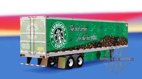 Скин Starbucks Coffee на полуприцеп для American Truck Simulator