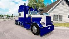 Скин Blue and White на тягач Peterbilt 389