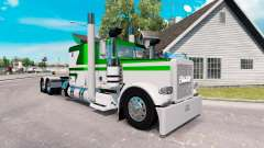 Скин White-metallic green на тягач Peterbilt 389