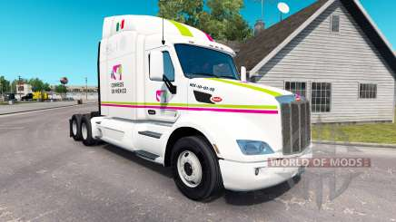 Скин Correos de Mexico на тягач Peterbilt для American Truck Simulator