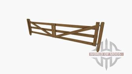Деревянные ворота с калиткой и забором для Farming Simulator 2017