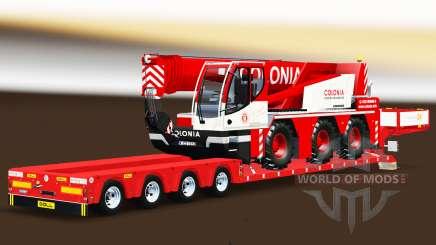 Низкорамный трал с грузом автокрана Liebherr для Euro Truck Simulator 2