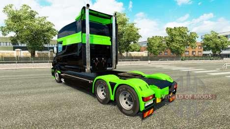 Скин Black-green на тягач Scania T для Euro Truck Simulator 2