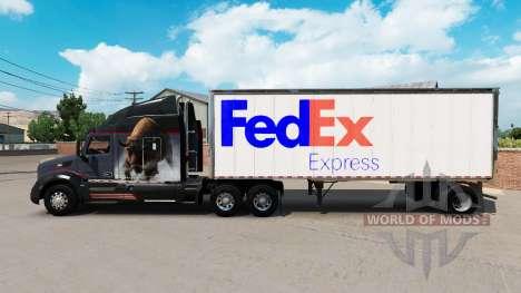 Скин FedEx на малый полуприцеп для American Truck Simulator
