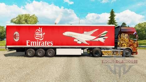 Скин Emirates Airlines на полуприцепы для Euro Truck Simulator 2